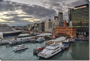 Welcome to the port of Auckland as dawn breaks. The weather will be mixed today.