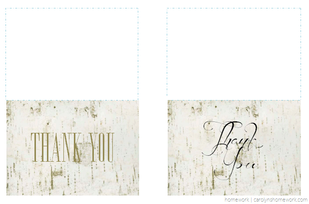Birch Thank You Cards with Fold Lines