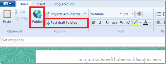 Publish Post in Windows Live Writer