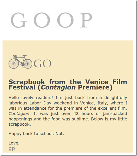 GOOP Newsletter - GO