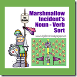 1st Grade Marshmallow Noun Verb File Folder Game