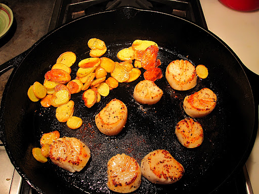 I browned the scallops after the potatoes were tender and browned.