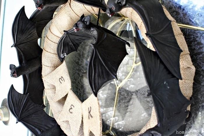 home made Spooky Bat Wreath