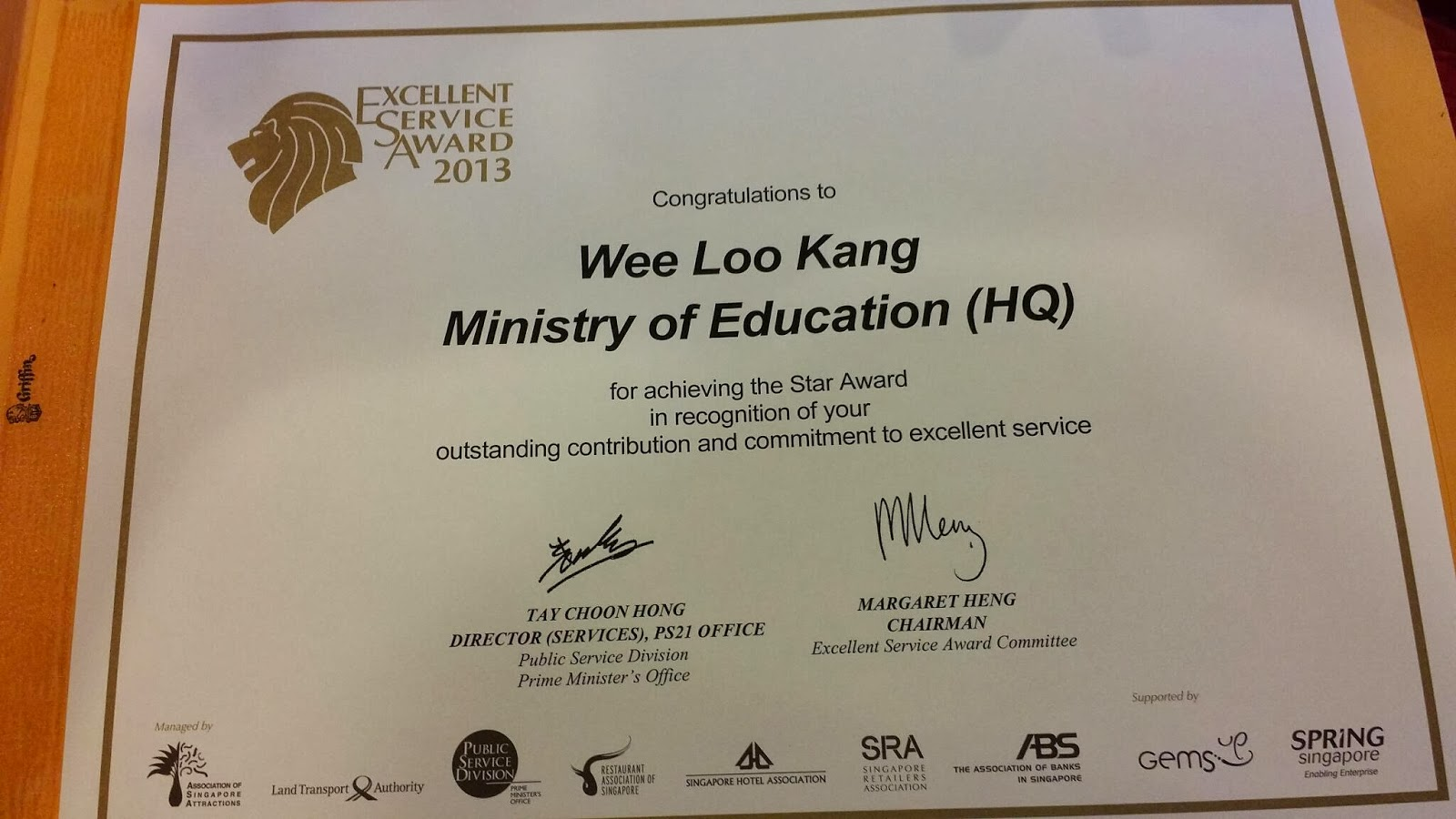 public service excellence in service award exsa star 2013 open