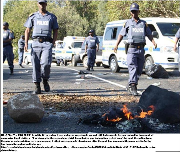 Nelspruit cops ignored assault on elderly white widow by striking mob Aug232011