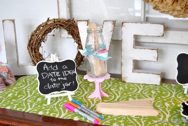 Date Jar activity for bridal shower.