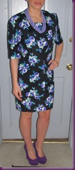 black and purple flower dress full set