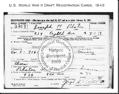 draft card of joseph pilates 1942