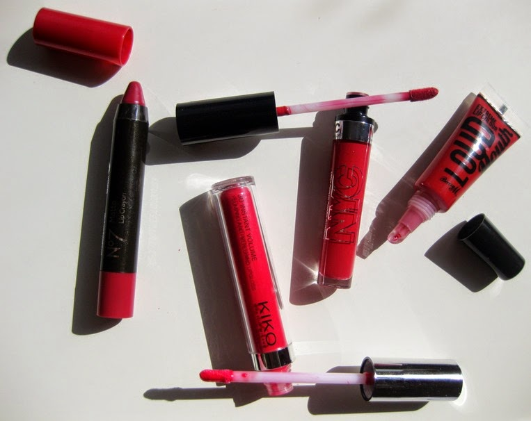 No7-Matt-Lip-Crayon,NYC-Expert-Last-Lip-Lacquer,KIKO-3D-Instant-Volume,BarryM-Loud-Mouth-red
