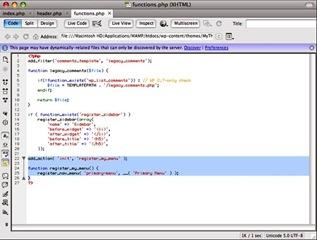 Code du menu pour personnaliser un thème Wordpress avec Dreamweaver