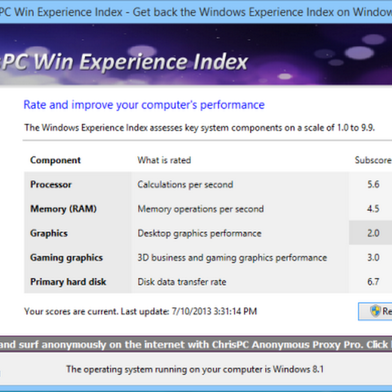 Bring Windows Experience Index Back to Windows 8