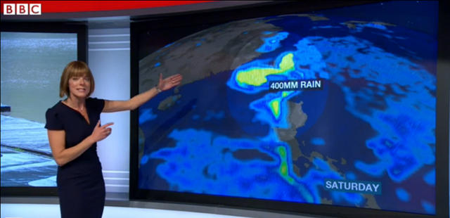 Screenshot of BBC weather presenter Louise Lear describing Super Typhoon Usagi, 20 September 2013. The storm is over 1000km (620 miles) in diameter. Photo: BBC News