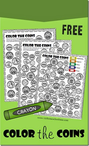 Color the Coins - Money Worksheets for preschool kindergarten and 1st grade