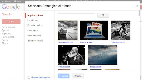 Gmail: inserire immagini preferite come sfondo