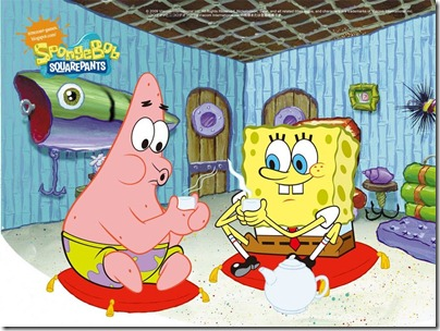 Spongebob and Patrick - Drinking Tea