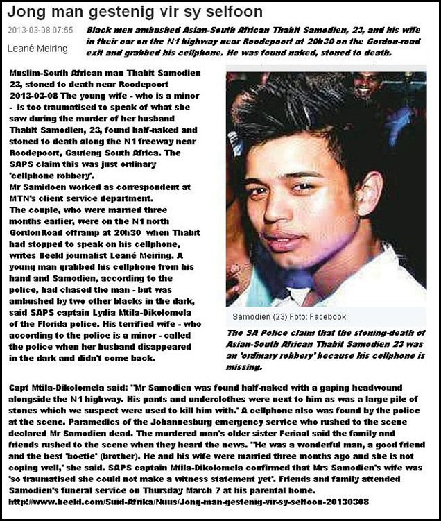 SAMODIEN THABIT 23 ASIAN SOUTH AFRICAN STONED TO DEATH N1 ROODEPOORT MARCH72013