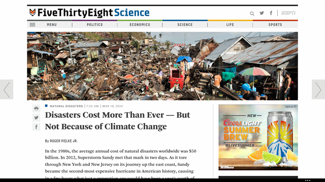Screenshot of the FiveThirtyEight.com science blog entry on 19 March 2014 by Roger Pielke, Jr., well-known climate denialist. Pielke no longer writes for the blog. Photo: FiveThirtyEight.com