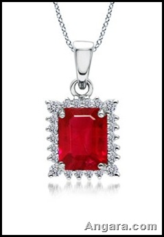 Emerald Cut Ruby and Diamond Vintage Pendant