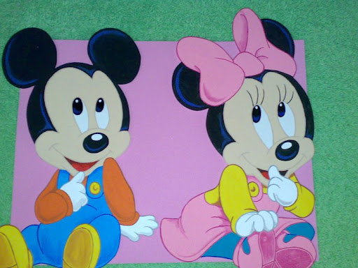 minnie y mickey bebe en foami