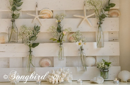 White Summer Mantel with Shells 3