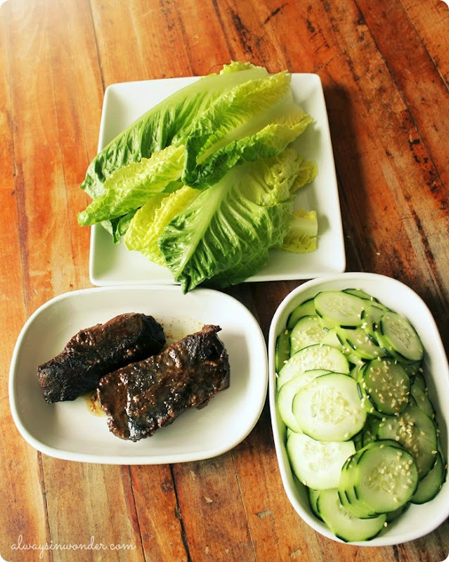 honey ginger boneless short rib lettuce wraps