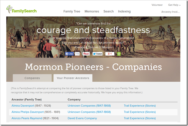 The FamilySearch.org page of Mormon Pioneers and companies