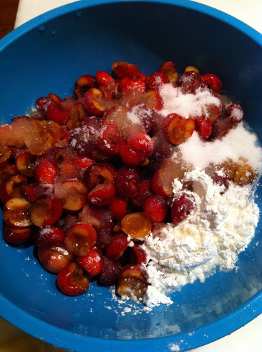 The cherries, corn starch, sugar and lemon juice for the filling.