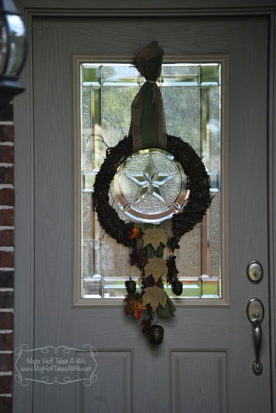 Fall door wreath with lantern