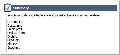Summary of data controllers that will be created in Touch UI app by Code On Time application generator.