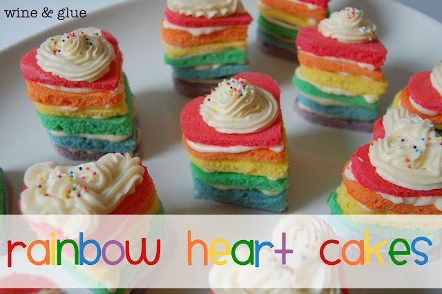 rainbow heart cakes