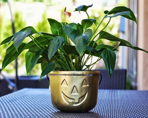gold jack-o-lantern planter - 1