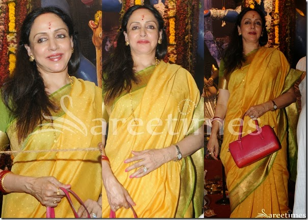 Hema_Malini_Yellow_Silk_Saree