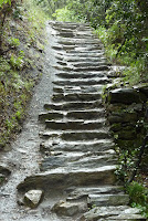 Steep slate steps
