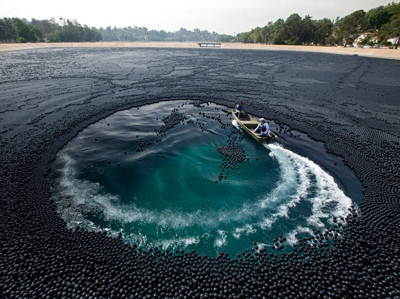 Ivanhoe Reservoir Covered With Black Shade Balls