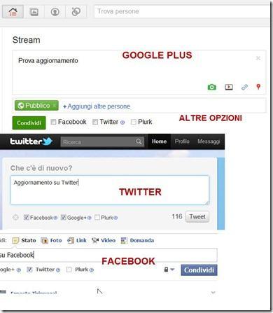 estensione per pubblicare su Facebook Google Plus Twitter