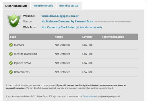 Teste gratuíto para saber se o seu blog ou site está contaminado com malware, vírus ou scripts maliciosos - Visual Dicas