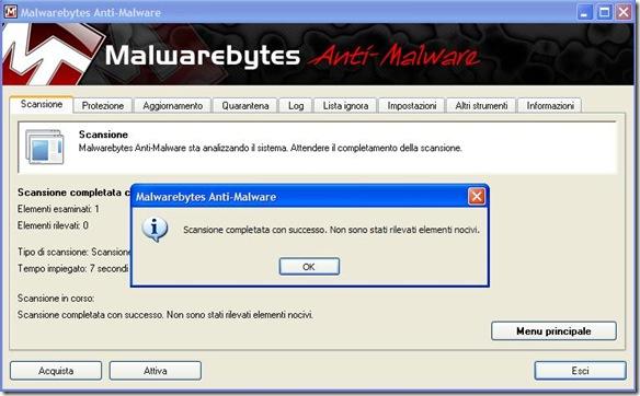 Malwarebytes Scansione completata