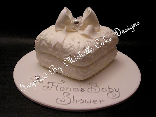white nappy or diaper baby shower cake. Inspired By Michelle Cake Designs www.inspiredbymichelle.com.au