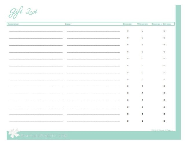 Gift List Printable by Simple is Pretty