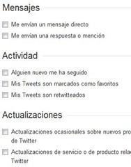 opciones de notificación de twitter