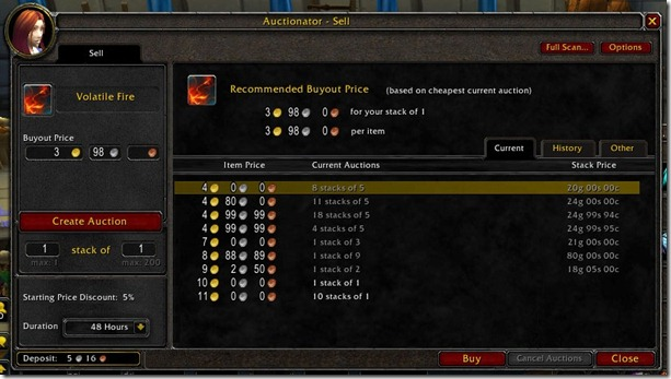 World of Warcraft Auctionator Addon