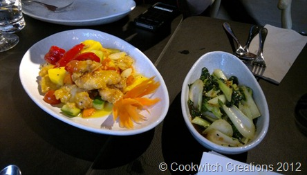 Sweet and sour crispy chicken and bok choi