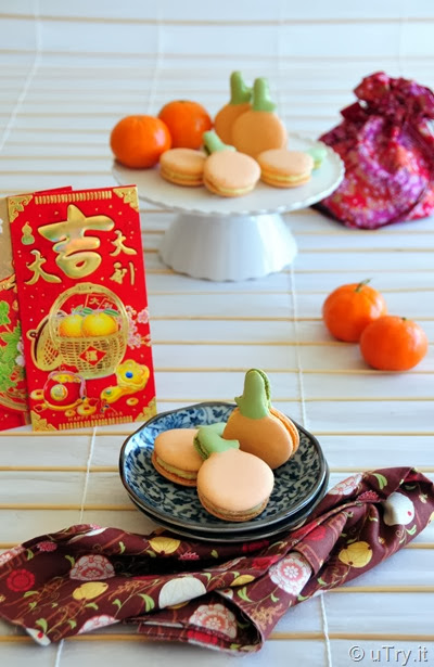 Tangerine Macarons and Happy Chinese New Year (大吉大利馬卡龍+恭喜發財)