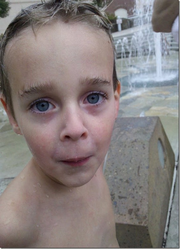 Eyebrows blown up by the fountain!