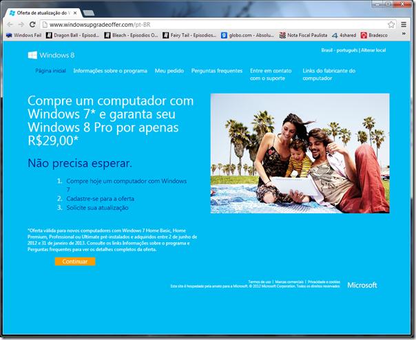 Oferta de atualização para o Windows 8