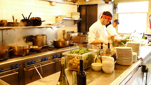 Kitchen staff busy at work with ramps.