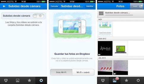 Cargar cámara de iPhone desde Dropbox
