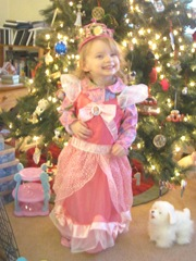 Christmas Day 2012 Bellz in her princess dress in front of tree2