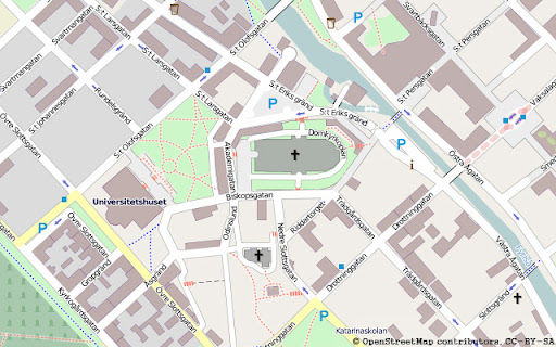 Karta ver Uppsala centrum frn OpenStreetMap