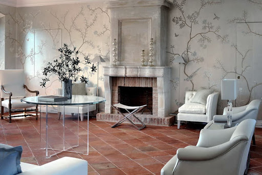 This Italian room from Desire To Inspire has several silver accents throughout the room.